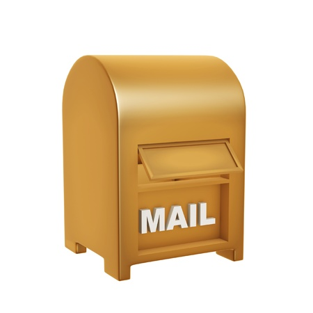 correspond: golden mail box isolated on white background