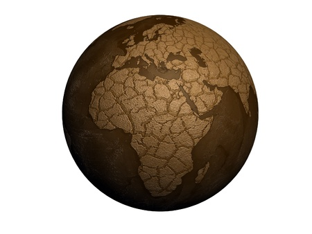 sequias: planeta tierra, la sequ�a aisladas sobre fondo blanco