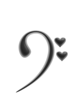 music symbol: black heart and music symbol isolated on white background Stock Photo