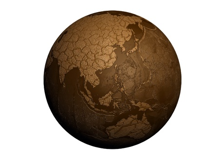 drought earth globe isolated on white background photo