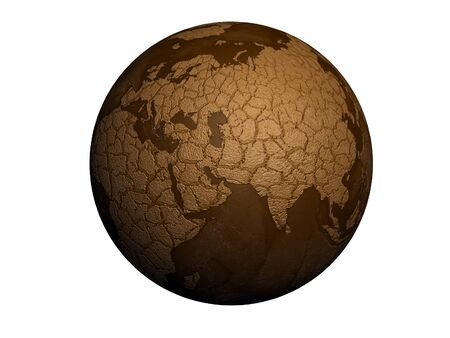 dry land: drought earth globe isolated on white background