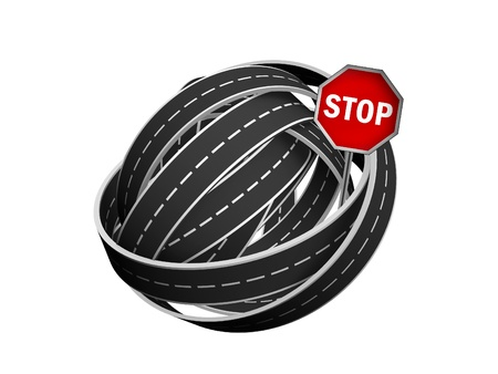tangle ball of road and stop sign isolated on white background Stock Photo - 11093620
