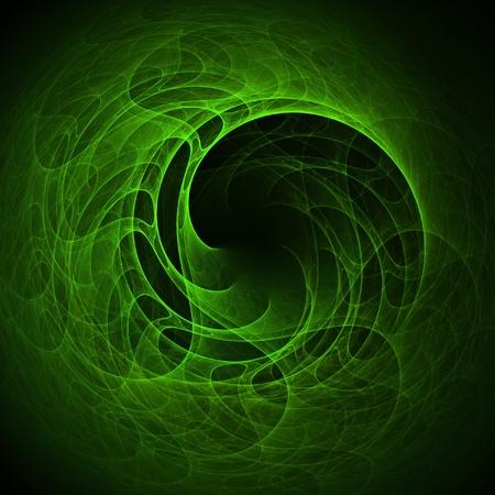 wormhole: green spiral wheel wormhole rays on dark background