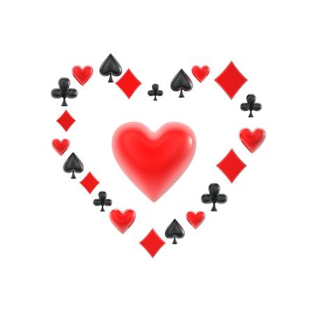 poker suit heart shape symbols on white background photo