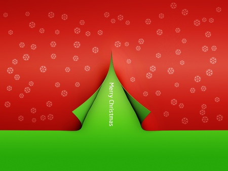 Christmas paper tree and snow flake on green background photo