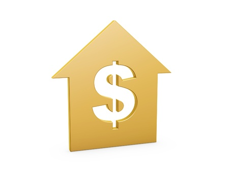 golden dollar house symbol on white background