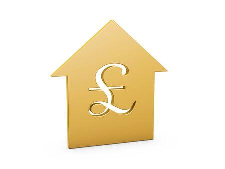 golden Pound house symbol on white background photo