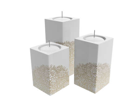 white candle with golden floral pattern isolated on white background photo