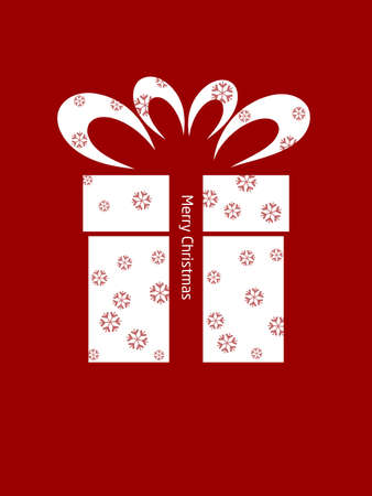 snow flake gift box image on red background Stock Photo - 11739978