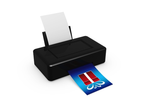 black printer print gift picture on white background Stock Photo - 11739977