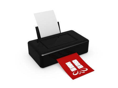 black printer print gift image on white background photo