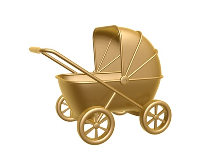 golden baby carriage isolated on white background photo