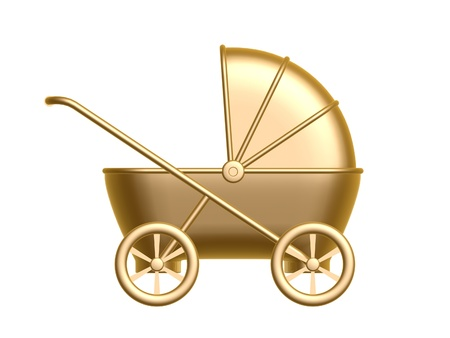 buggy: golden baby carriage isolated on white background