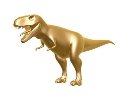enormous: golden dinosaur t-rex isolated on white background