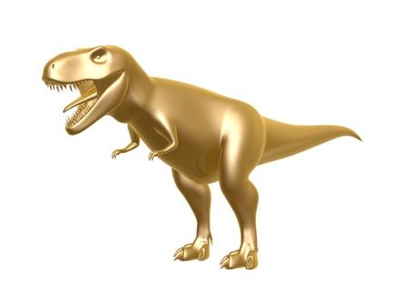 trex: golden dinosaur t-rex isolated on white background