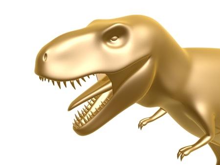 tiranosaurio rex: de oro de dinosaurio T-Rex aislado sobre fondo blanco Foto de archivo