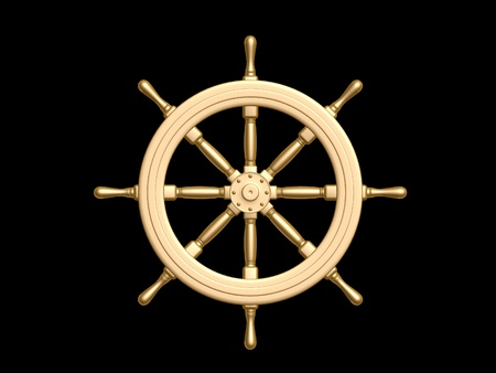 captain: golden Steering wheel isolated on black background