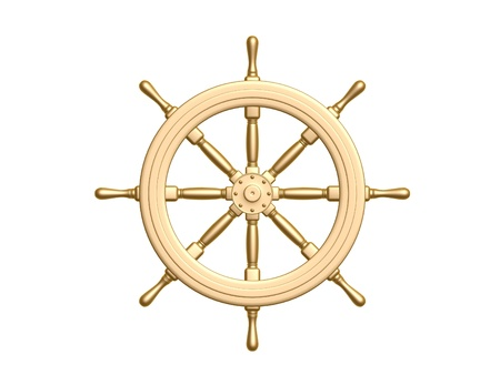 3d sail boat: golden Steering wheel isolated on white background