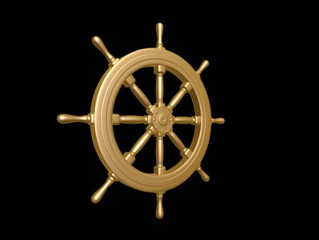 navy ship: golden Steering wheel isolated on black background