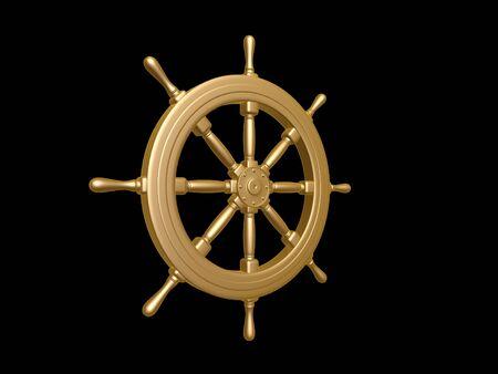 golden Steering wheel isolated on black background
