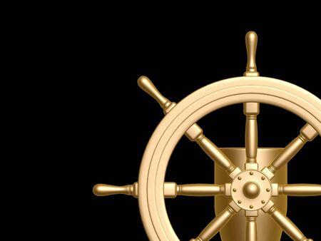 ship wheel: golden Steering wheel isolated on black background