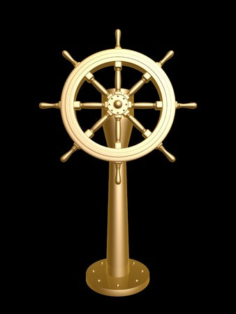 golden Steering wheel isolated on black background photo