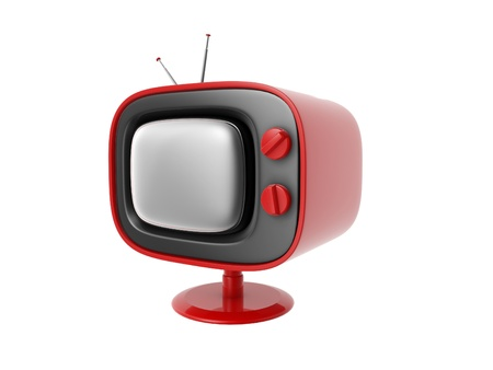 retro tv set isolated on white background Stock Photo - 12321464