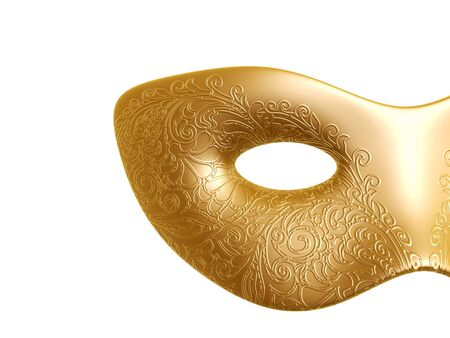 golden Carnival mask with flora texture pattern isolated on white background photo