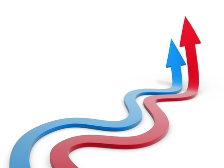 blue and red winding arrow path on white background photo