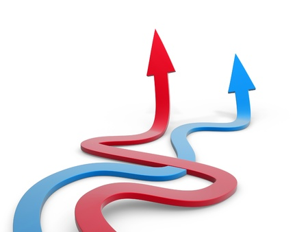 price development: blue and red winding arrow path on white background