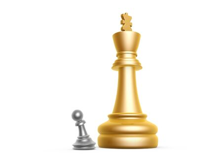 pawn: big king and small pawn on white background Stock Photo