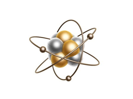 golden atom structure isolated on white background photo