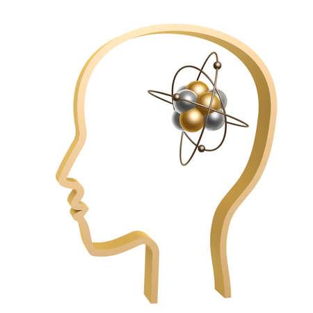 atom symbol: golden outline of head with brain atom inside