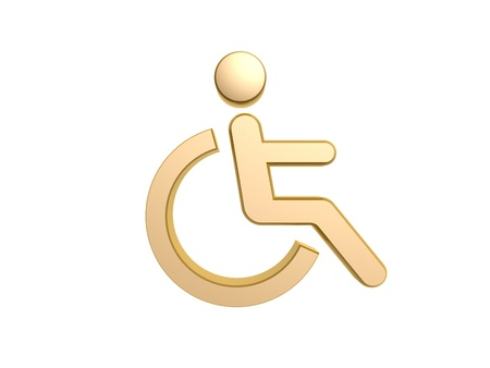 golden disability icon symbol isolated on white background photo