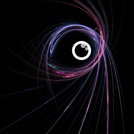abstract eye: colorful curve eye rays on dark background Stock Photo