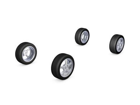 4 wheel: four alloy wheel tires isolated on white background