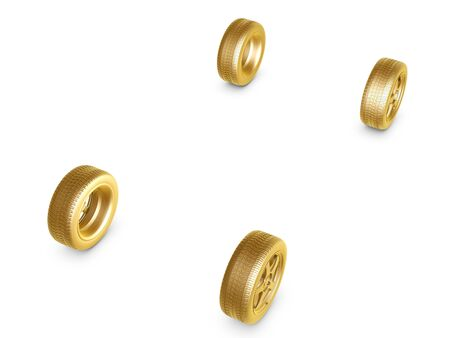 4 wheel: four golden wheel tires isolated on white background