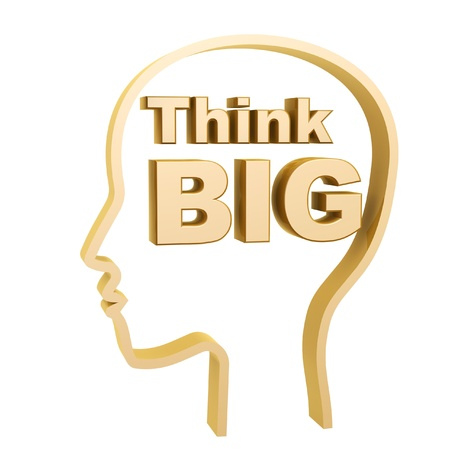 dream job: human head and think big symbol isolated on white background