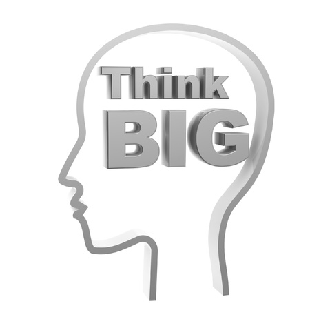 think big: human head and think big symbol isolated on white background