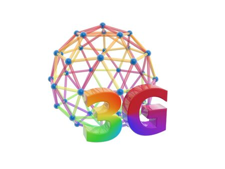 cdma: 3g network cage ball isolated on white background