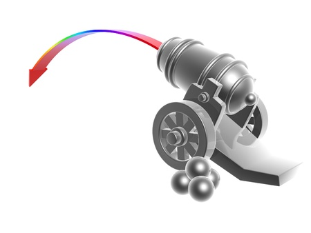silver cannon with rainbow Trajectory isolated on white background