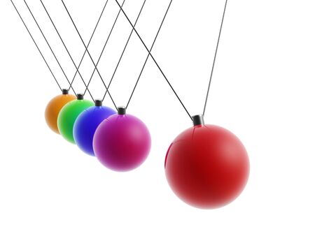 newton cradle: colorful rainbow newton Cradle balls isolated on white background Stock Photo