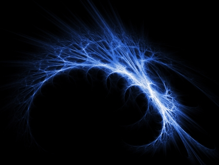 blue flame: blue Aurora ring rays on dark background Stock Photo