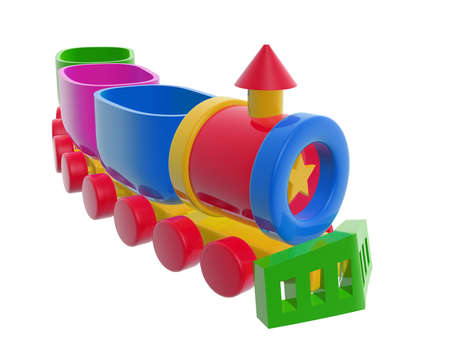 colorful toy freight train isolated on white background photo