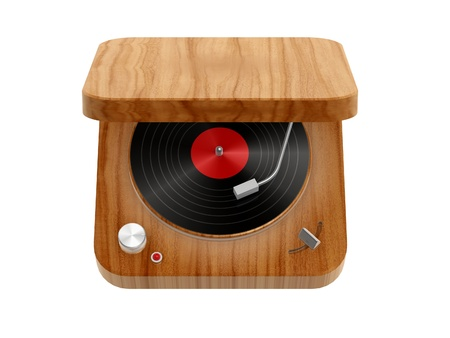 phonograph: 3d wooden Phonograph isolated on white background Stock Photo