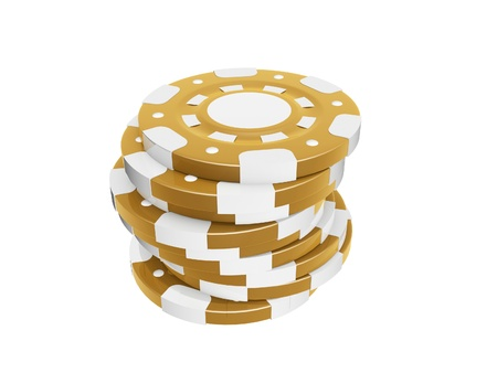 fichas de casino: pila de fichas de casino aislados en fondo blanco