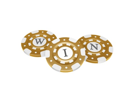 gambling game: casino chips with win symbol isolated on white background