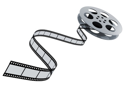 film industry: 3d film reel copy isolated on white background