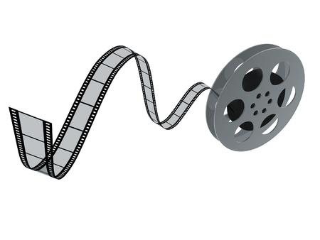 carrete de cine: Copia de la pel�cula 3D carrete aisladas sobre fondo blanco