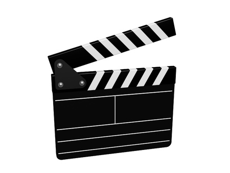 slate board of film isolated on white background photo